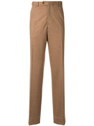 Brioni Creased Straight Leg Trousers Brown