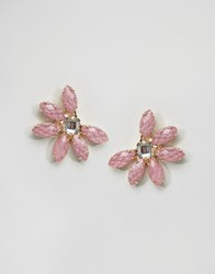 Asos Limited Edition Occasion Flower Jewel Stud Earrings Pink Gold