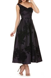 Kay Unger Mikado One Shoulder Gown Plum Black
