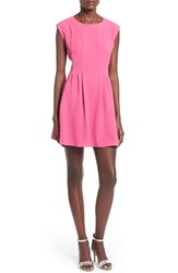 Junior Women's Speechless Pleated Fit And Flare Dress Fuchsia