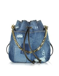 Dsquared Babe Wire Denim And Leather Backpack Blue