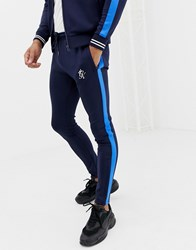 Gym King Skinny Joggers In Navy With Side Stripe