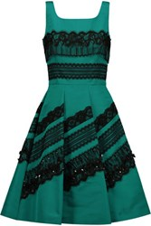 Oscar De La Renta Embellished Lace Trimmed Silk Satin Dress Petrol