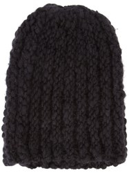 The Elder Statesman Cashmere Ribbed Beanie Black