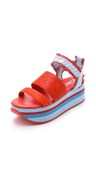 Dkny Valene Haircalf Platform Sandals Bright Flame Hue Blue