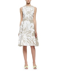 Carolina Herrera Tulip Print Linen Sundress White Gray