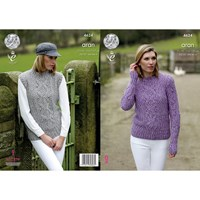 King Cole Fashion Aran Combo Women's Jumper And Slipover Knitting Pattern 4624