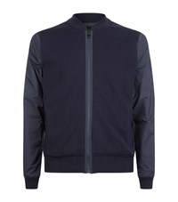 Z Zegna Contrast Zip Up Sweater Male Navy
