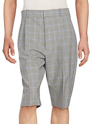 3.1 Phillip Lim Pleated Checked Wool Walking Shorts Black Ultramarine