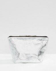Asos Leather Metallic Make Up Bag Silver