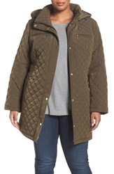 Gallery Plus Size Women's Diamond Quilted Jacket British Khaki