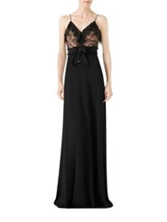 Gucci Viscose Jersey And Lace Gown Black Nude