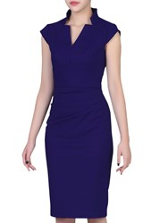Jolie Moi High Collar Ruched Bodycon Dress Royal Blue