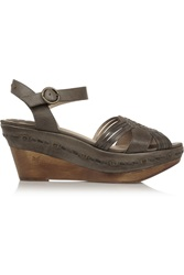Frye Carlie Studded Leather Wedge Sandals Gray