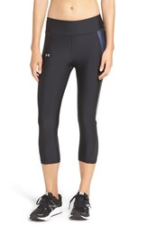 Under Armour Women's 'Fly By' Compression Heatgear Capri Leggings Black White Reflective