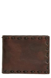 John Varvatos Marble Pickstitched Leather Wallet Brown Distressed Brown