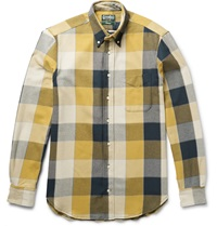 Gitman Brothers Vintage Button Down Collar Checked Double Faced Cotton Flannel Shirt Yellow