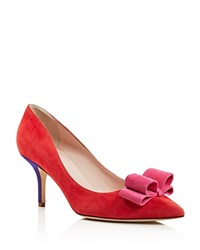 Kate Spade New York Jenni Color Block Pointed Toe Mid Heel Pumps Poppy Red