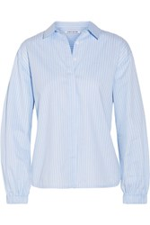 Elizabeth And James Estelle Striped Cotton Poplin Shirt Light Blue
