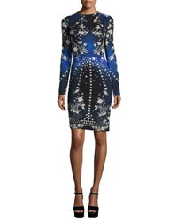 Roberto Cavalli Floral And Star Long Sleeve Sheath Dress Blue