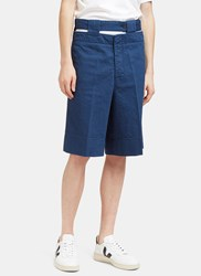 Marni Cut Out Denim Shorts Blue