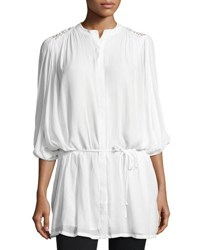 Neiman Marcus Batwing Sleeve Embroidered Blouse White