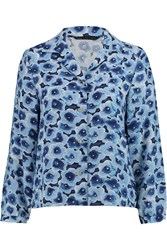 Marc By Marc Jacobs Floral Print Crepe Blouse Blue