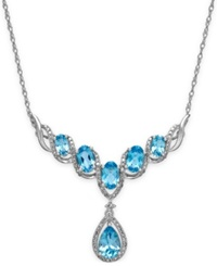 Macy's Blue Topaz 3 Ct. T.W. And Diamond 1 4 Ct. T.W. Fancy Necklace In 14K White Gold