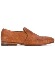 Officine Creative Woven Loafers Men Calf Leather Leather 41.5 Brown