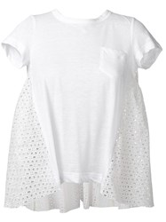 Sacai Flared Eyelet T Shirt White