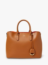 Ralph Lauren Dryden Marcy Leather Satchel Bag Field Brown Orange