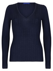 Winser London Merino Wool Rib V Neck Jumper Navy