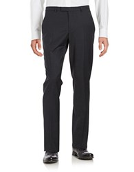 Hugo Flat Front Checked Dress Pants Navy