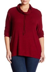 Bobeau Drawstring Cowl Neck Pullover Plus Size Red
