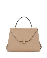 Valextra Iside Leather Top Handle Bag Taupe