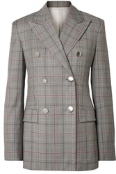 Calvin Klein 205W39nyc Double Breasted Prince Of Wales Checked Wool Blazer Gray
