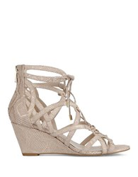 Kenneth Cole Dylan Suede Wedge Sandals Natural