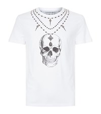 Alexander Mcqueen Skull Necklace T Shirt Male White