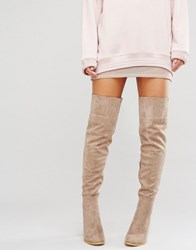 Daisy Street Taupe Heeled Over The Knee Boots Taupe Beige