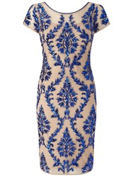 Adrianna Papell Cap Sleeve Beaded Sheath Dress Champagne Royal