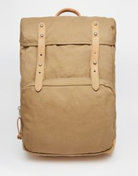 Asos Backpack In Stone Canvas With Faux Leather Straps Stone Beige