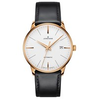 Junghans 027 7812.00 Unisex Meister Classic Automatic Date Leather Strap Watch Black White