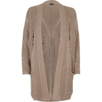 River Island Womens Grey Oversized Ladder Knit Cardigan