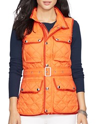 Lauren Ralph Lauren Petite Quilted Nylon Vest Orange
