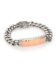 John Hardy Palu Bronze And Sterling Silver Large Gourmette Chain Id Bracelet Silver Bronze