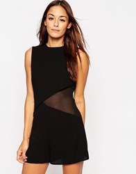 Asos Woven Double Layer Asymmetric Playsuit With Sheer Side Black