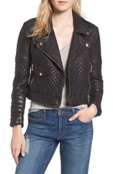 Joe's Jeans Women's Quilted Leather Moto Jacket Black