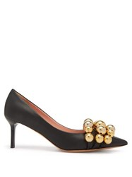 Rochas Beaded Point Toe Leather Pumps Black Gold