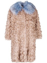 L'autre Chose Curly Designed Oversized Coat Nude And Neutrals