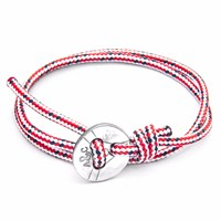 Anchor And Crew Red Dash Lerwick Silver Rope Bracelet